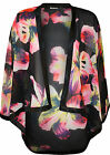 New Womens Floral Print Dip Hem 3/4 Sleeve Ladies Sheer Open Kimono Top 8 - 14