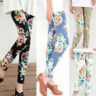 New Women's Sexy Skinny Flowers Print Leggings Stretchy Soft Pencil Tights Pants