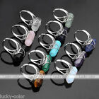 Womens Adjustable Gemstone Crystal Bead Hexagon Healing Point Chakra Finger Ring