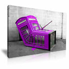BANKSY Purple London Phone Box Graffiti Wall Art Print Framed Canvas Box ~ 1 Pc