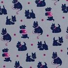 BESPOKE SCOTTIES  - NAVY ON GREY - MICHAEL MILLER COTTON FABRIC DOG DOGS