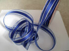 Dark Royal Blue satin & sheer organza silver stripe - Luxury Wire Edge Ribbon