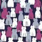 HERE KITTY KITTY - JEWEL PURPLE GREY - MICHAEL MILLER COTTON FABRIC cat cats
