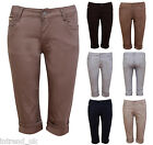 Womens Chino Cotton Shorts ladies 3/4 Trousers Pants 6 Colours Size 8-14