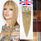 8 PICS Premium Clip In Human Hair Extensions Remy 100% Real Human Hair Extension