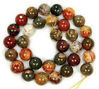 NATURAL 4 6 8 10 12 14MM PICASSO JASPER GEMSTONE ROUND BALL LOOSE BEAD 15''