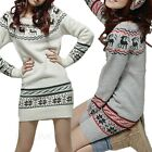 Vintage Dresses Christmas Deer Print Womens Sweater Dress Ladies Knitwear Sz 2 4