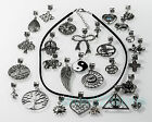 "Tibetan Silver Charms Gothic Black Suede Choker/Necklace Wiccan Pagan 18""+2""ext."