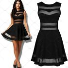 Women's Sexy Mesh Panel Transparent Backless Mini Cocktail Clubwear Party Dress