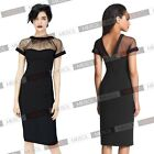 Women Mesh Fashion Bodycon Stretch Cocktail Club Wear Party Evening Pencil Dress