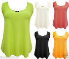 WOMENS SCALLOP EDGE SLEEVELESS STRETCHY NEON VEST TOP SUMMER PARTY 8-16UK