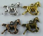 40 Silver/Gold/Copper/Bronze Color 3D Horse Charms 19x15x3.5mm L216-17511