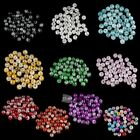 50 Pcs 8mm Mixed Half Crack Glass Round Loose Spacer Beads Jewelry Making DIY