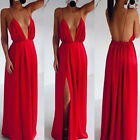 Sexy Women Celeb Strap V Neck Backless Summer Maxi Party Cocktail Evening Dress