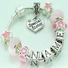 Girls Childrens Personalised ANY NAME Pink Charm Bracelet Beads Jewellery Gifts