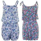 Women's Multicoloured Floral Print Thin Knot Tie Strap Ladies Casual Playsuit