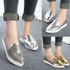 Lady Fashion Silver Gold Espadrilles Loafers Flat Boat Oxfords Shoes Size 3 4 5