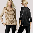 Elegant Drape Ruched Frill Top Sexy Boat Neck Plunge Career 3/4 Sleeve Blouse C