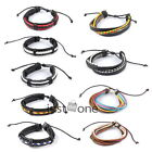 Men's MultiWrap Tribal Punk Style Cuff handmade PU Leather Bracelet Wrist Chain