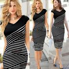 Ladies Contrast Striped Bodycon Cocktail Evening Party Pencil Casual Tea Dresses