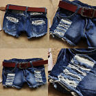 Hot Womens Girls Denim Jeans Tassel Hole Casual Distressed Ripped Shorts Pants