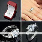 Womens Stainless Steel Round Cut CZ Promise Engagement Wedding Gift Finger Ring