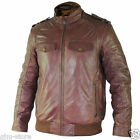 SFT 00140 Xelement Mens Cognac Buttery Soft Cowhide Leather Bomber Jacket