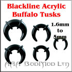 Acrylic Buffalo Tusk, Expander, Taper, Crescent 1.6mm   5mm. FREE STRETCHING GEL