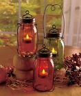 Country Rustic Star Glass Candle Jar Lantern Votive Tealight Holder Accent Decor