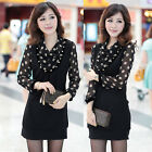 Fashion Women Plus Size Long Sleeve Polka Dots Chiffon Casual Pencil Dress L~5XL