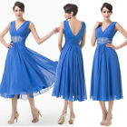 Blue Elegant Mid-Calf V-Neck Prom Evening Dress Masquerade Cocktail Party Gown