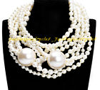 Fashion Multilayer Long Strand Chain Colorful Faux Pearl Statement Bib Necklace
