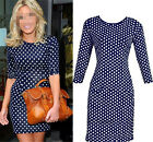 Sexy Women Polka Dot 3/4 Sleeve Bodycon Slim Evening Party Cocktail Pencil Dress