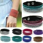 NEW FASHION FAUX LEATHER DIAMANTE CRYSTAL BLING DOUBLE WRAP CUFF BANGLE BRACELET