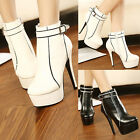 Lady Sexy Black White Belt Platform High Heels Pumps Ankle Boots Bootie Shoes