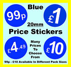 20mm Blue Price Point Stickers / Sticky Labels / Swing Tag Labels £1, £5, £10