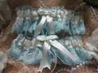 New Made in Canada Blue Lace with White or Ivory Victorian Style Wedding Garters