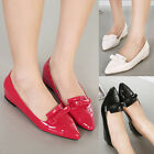Womens Ballerina Flats Pointed Toe Bowtie Slip On Patent Leather Ladies Shoes