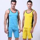 HOT Men's Sports One Cropped Trousers & One Vest Athletic Apparel Set Size S M L