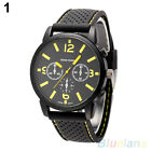 Men's Fashion Analog Silicone Stainless Steel Quartz Hours Sports Wrist Watch