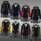 Hot Sale Classic Hooded Color-Contrast Men Baseball Jacket Slim Cardigan Sweater