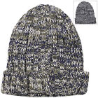 Mens Chunky Knit Rib Beanie Hat Speckled Turn Up Stretch Winter Slouch Navy Grey