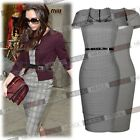 Womens Gingham Check Celeb Style Business Office Bodycon pencil Dresses SizeSMXL