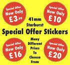 Bright Red 41mm Starburst Special Offer Promotional Price Stickers - Labels Tags