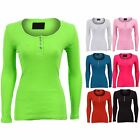 Ladies Long Sleeve Diamante Button Ribbed Fitted Long Women's T-Shirt Top