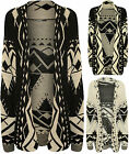 New Womens Aztec Print Pattern Long Sleeve Top Ladies Knitted Open Cardigan 8-14