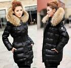 Winter Warm Thick Fur Collar Womens Hoodies Down Coat Jacket Outerwear Parka E