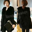 New Womens Black Faux Fur Leather Long Vest waistcoat grass Coat Jacket Grace