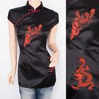 Satin Dragon Phoenix Embroidered Mandarin Collar Cap Sleeves Top Blouse