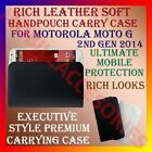 RICH LEATHER SOFT CARRY CASE for MOTOROLA MOTO G 2ND GEN 2014 HANDPOUCH COVER